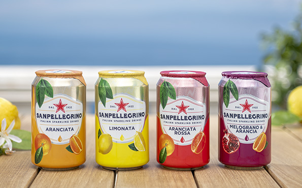 Four Sanpellegrino sparkling fruit drinks
