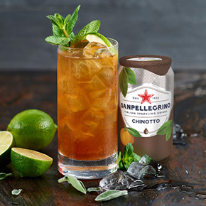 Green Chinotto mocktail met Sanpellegrino Chinotto