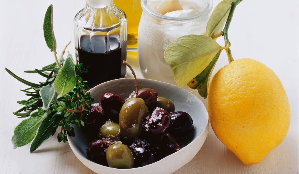 Marinated olives with citrus peel