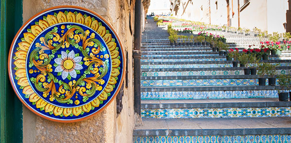 Stairs decorated in a Majolica pattern