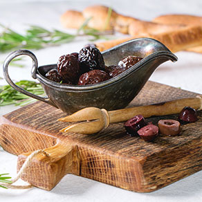 for this recipe use black olives, deseeded and finely chopped