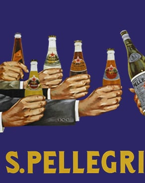 vintage advertisement of arms reaching out with bottles of san pellegrino drinks