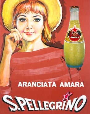 vintage aranciata amara illustrated advertisement with woman in red striped shirt and yellow hat