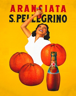 vintage s pellegrino advertisement with yellow background, oranges and a woman in white shirt holding up a glass of aranciata