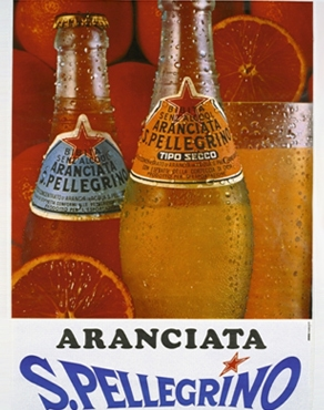 1970's s.pellegrino advertisement of wet bottles of aranciata and tipo seco