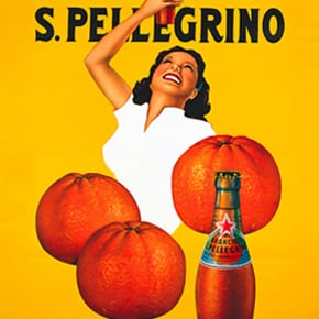 vintage sanpellegrino aranciata ad of woman and oranges on yellow background