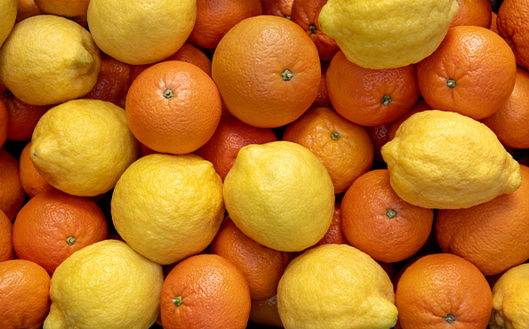 Various types of citrus fruits