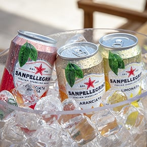 Sanpellegrino beverages orange, lemon and blood orange flavors with ice