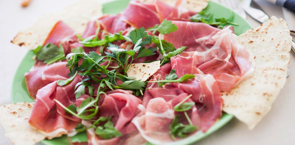 plate of piadana with cold cuts - italian food recipes