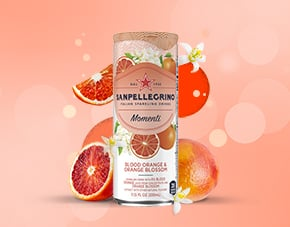 Sanpellegrino Momenti Blood Orange & Orange Blossom flavored sparkling drink with fruits details