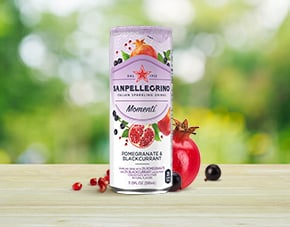 Sanpellegrino Momenti Pomegranate and Blackcurrant flavored sparkling drink details