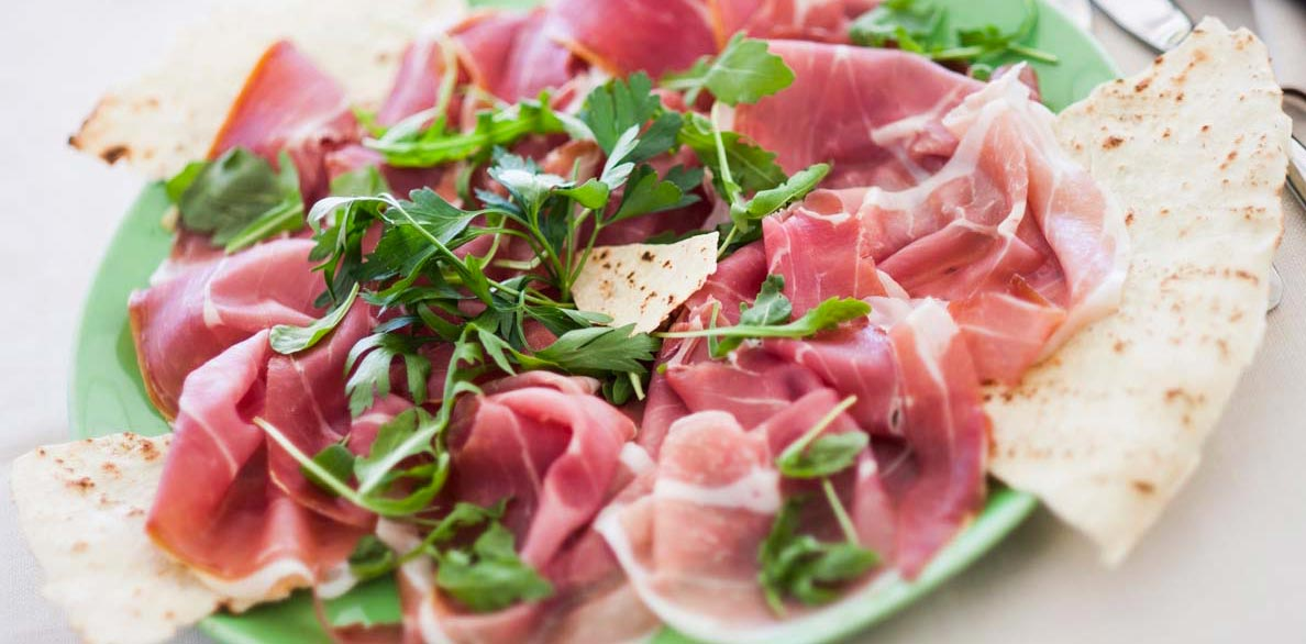 Italian dish with piadina and cold cuts