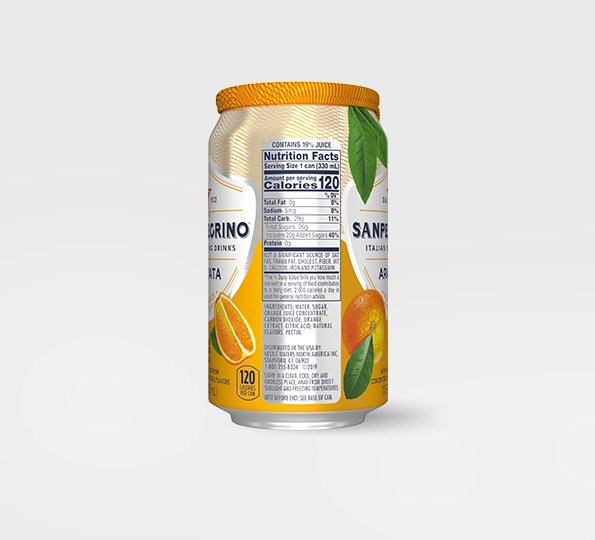 left side of san pellegrino aranciata sparkling orange drink can with nutritional facts