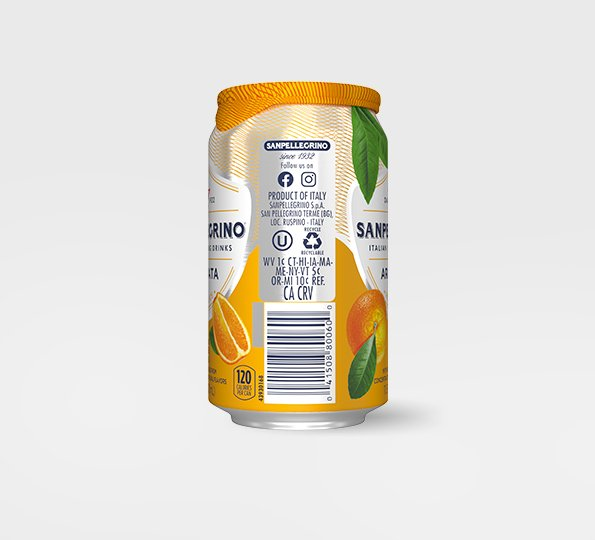 right side of san pellegrino aranciata sparkling orange drink can with bar code and recycling information