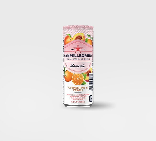 Sanpellgrino Momenti clementine and peach back can