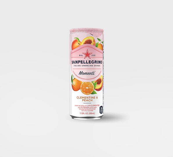 Sanpellgrino Momenti clementine and peach front can