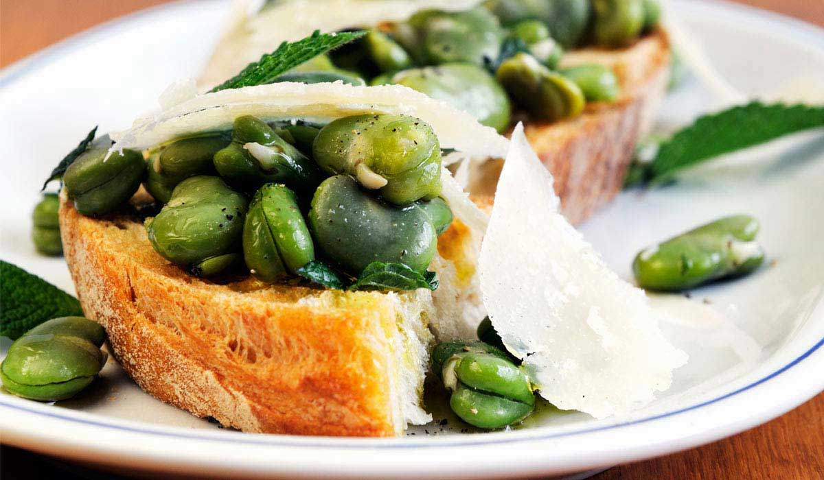 Pecorino cheese and fava bean crostini