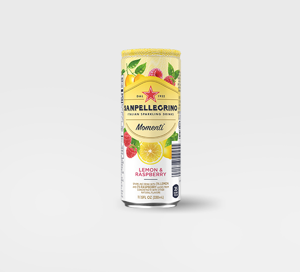 Sanpellgrino Momenti lemon and raspberry back can