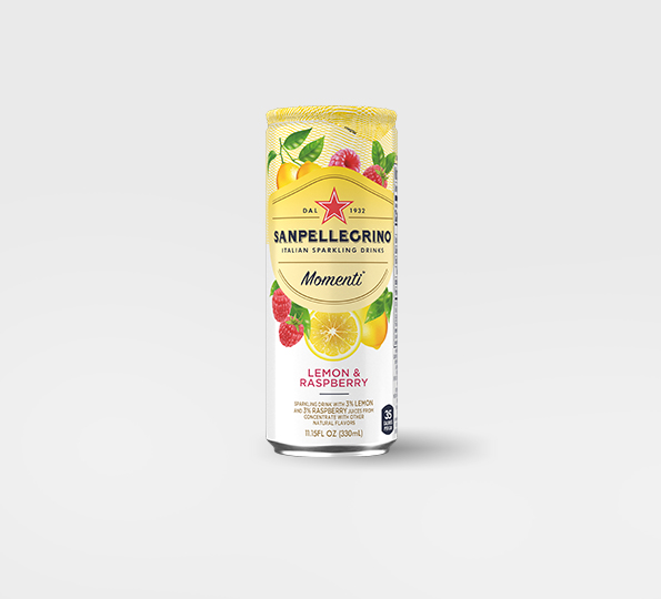 Sanpellgrino Momenti lemon and raspberry front can