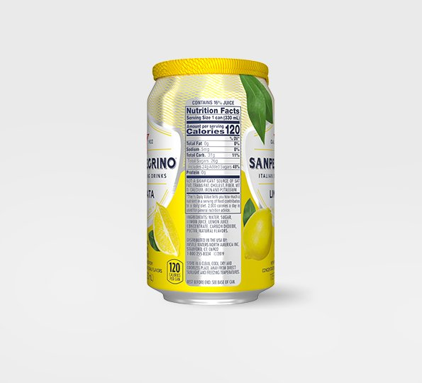 left side of san pellegrino limonata sparkling lemon drink can with nutritional information