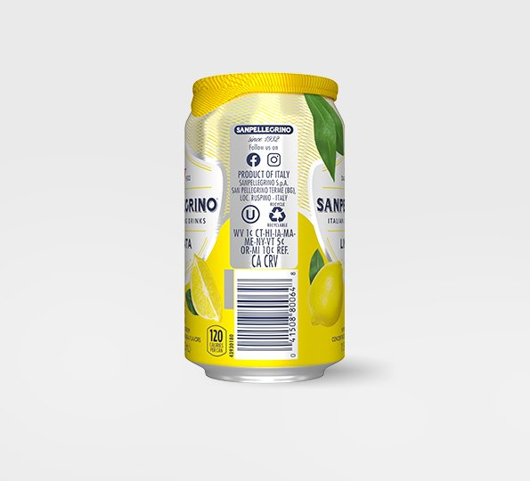 right side of san pellegrino limonata sparkling lemon drink can with bar code and recycling information