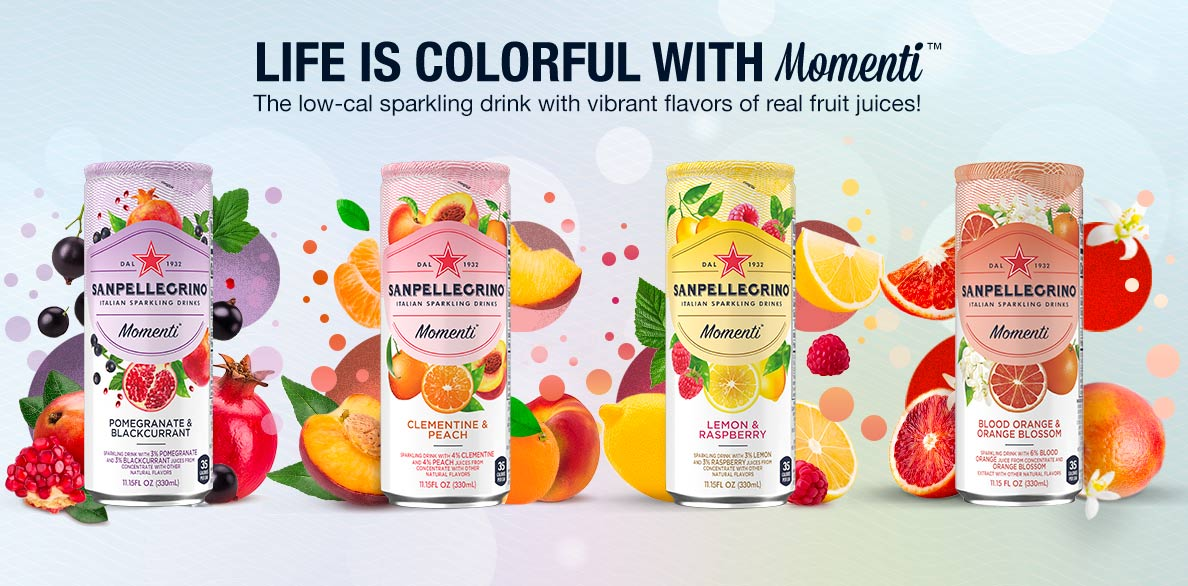 All flavors of Sanpellegrino Momenti Sparkling Drinks - 4 cans with fruits