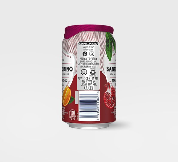 right side of san pellegrino melograno and arancia sparkling orange and pomegranate drink can with bar code and recycling information