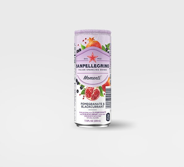 Sanpellgrino Momenti pomegranate and blackcurrant back can