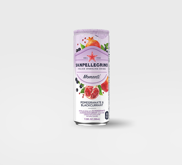 Sanpellgrino Momenti pomegranate and blackcurrant front can