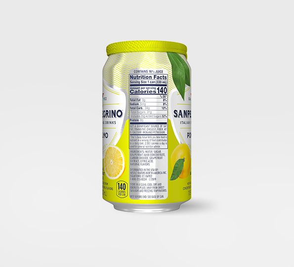 left side of san pellegrino pompelmo sparkling grapefruit drink can with nutritional information