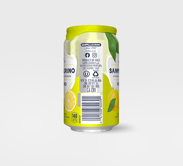 right side of san pellegrino pompelmo sparkling grapefruit drink can with bar code and recycling information