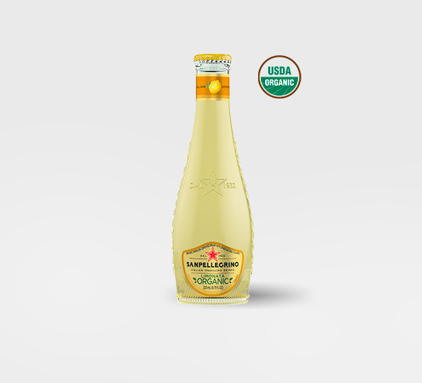 A bottle of Sanpellegrino limonata organic lemon drink - Front