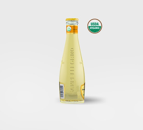 A bottle of Sanpellegrino limonata organic lemon drink – Left side