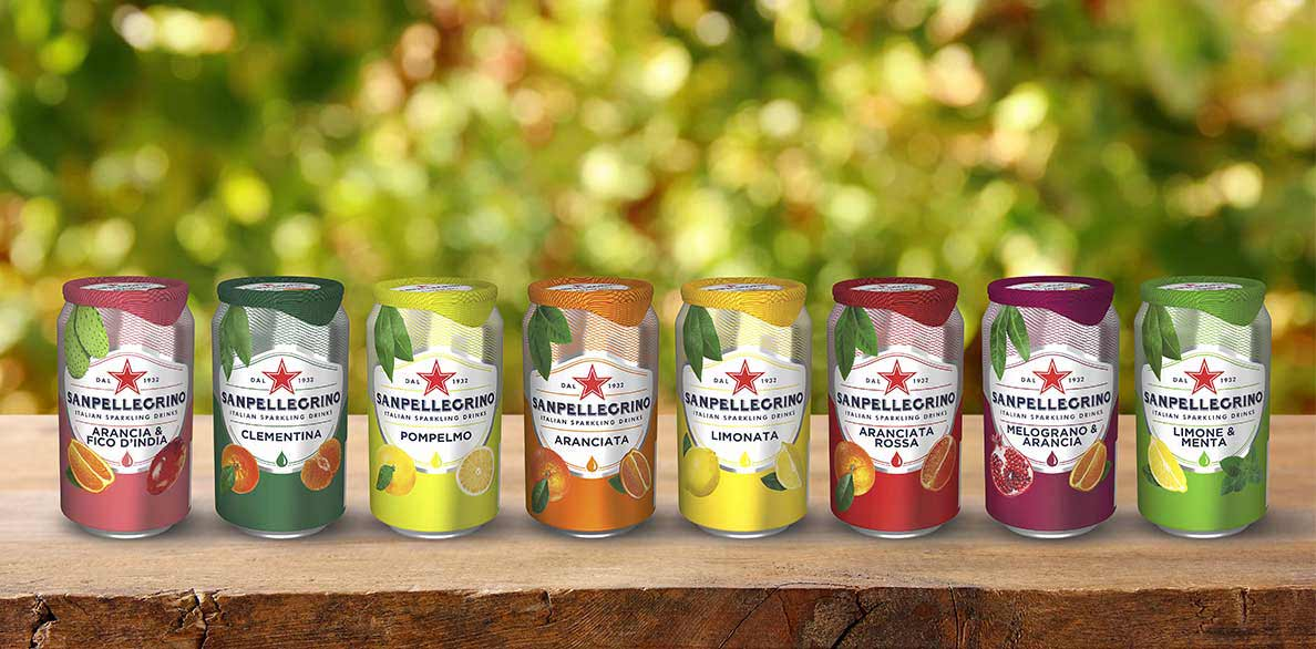 cans of all flavors of Sanpellegrino sparkling fruit drinks